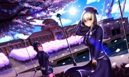 Konachan.com - 205909 2girls atago_(kancolle) building cherry_blossoms hat misumi_(niku-kyu) pantyhose petals takao_(kancolle) thighhighs tree uniform water
