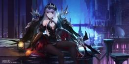 Konachan.com - 206103 aisha_(elsword) breasts cleavage elbow_gloves elsword headdress pantyhose purple_eyes swd3e2 watermark weapon