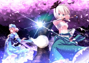 Konachan.com - 206316 2girls aono_meri cherry_blossoms dress hat katana konpaku_youmu myon petals sarashi short_hair skirt sword touhou tree underboob weapon