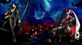 Konachan.com - 206676 armor black_hair blade_&_soul bodysuit eyepatch gun magic night red_eyes sword twintails weapon