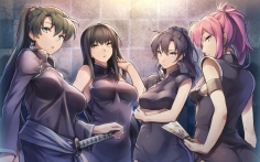 Konachan.com - 206958 fire_emblem group karla_(fire_emblem) katana long_hair pink_hair ponytail ribbons sword tagme_(character) weapon