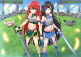 Konachan.com - 206984 2girls black_hair blue_eyes blush green_eyes kazenokaze long_hair original red_hair sword weapon