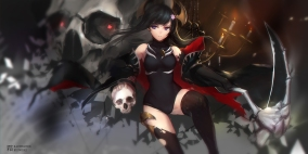 Konachan.com - 207125 black_hair cape elbow_gloves horns leotard long_hair purple_eyes scythe shion_(lemuria) skull swd3e2 thighhighs torn_clothes watermark weapon