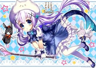 Konachan.com - 208142 abondz animal blue_eyes blush bunny dress gochuumon_wa_usagi_desu_ka- kafuu_chino pantyhose pink_hair staff twintails weapon
