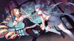 Konachan.com - 208328 bow daye_bie_qia_lian gloves long_hair original pantyhose skirt sword thighhighs twintails weapon zettai_ryouiki