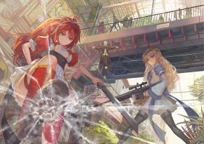 Konachan.com - 208648 2girls blonde_hair building gun original paku red_hair sword thighhighs weapon