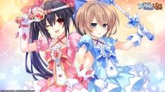 Konachan.com - 208657 2girls black_hair blanc brown_hair compile_heart dress hyperdimension_neptunia noire tsunako wand weapon wink