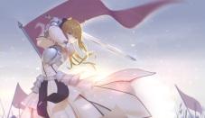 Konachan.com - 208685 blonde_hair fate_stay_night green_eyes long_hair maredoro saber sword weapon