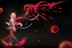 Konachan.com - 208751 bandage blood glasses kuriyama_mirai kyoukai_no_kanata nanaya_(daaijianglin) seifuku short_hair sword weapon
