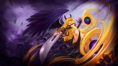 Konachan.com - 208754 ass blonde_hair breasts golden_darkness hanshu horns long_hair red_eyes sword to_love_ru to_love_ru_darkness weapon wings