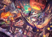 Konachan.com - 208829 aircraft animal bandage bat bird city demon group halloween hat horns lack moon original owl sky spear staff thighhighs weapon wings witch_hat