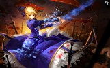 Konachan.com - 208986 blonde_hair blood dress fate_stay_night green_eyes liang_xing magic ribbons saber sunset sword weapon
