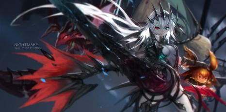 Konachan.com - 209772 armor arnas bicolored_eyes breasts cleavage long_hair swd3e2 twintails weapon white_hair yoru_no_nai_kuni