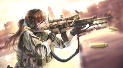 Konachan.com - 209804 black_ops_3 blue_eyes brown_hair city desert gloves gun headphones military original ponytail rooftop tc1995 uniform weapon