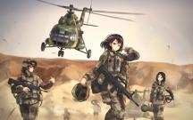 Konachan.com - 209805 aircraft black_hair brown_eyes desert group gun military original short_hair tc1995 weapon