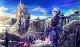 Konachan.com - 209856 armor au_ra blue_hair final_fantasy final_fantasy_xiv natsumoka purple_eyes sky spear weapon
