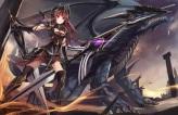 Konachan.com - 209902 armor dragon eruthika long_hair original red_eyes red_hair sword thighhighs weapon