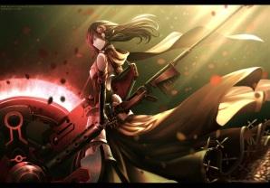 Konachan.com - 210060 armor black_hair cross dishwasher1910 dress flowers gun hoodie long_hair red ruby_rose rwby scythe tagme_(artist) watermark weapon yellow_eyes