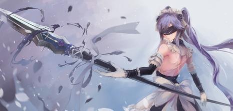 Konachan.com - 210272 blindfold bow bzerox gloves long_hair maid original purple_hair spear twintails weapon