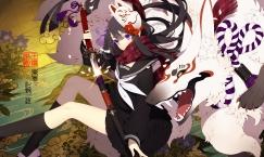 Konachan.com - 210327 black_hair katana kneehighs mask ni02_(asahi_nini) purple_eyes scarf seifuku skirt sword touran-sai weapon