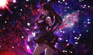 Konachan.com - 210886 akame akame_ga_kill! black_hair long_hair photoshop red_eyes sword tagme_(artist) weapon
