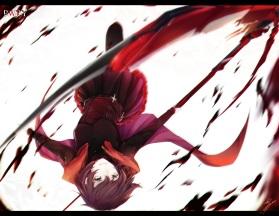 Konachan.com - 211033 blood cape marumoru ruby_rose rwby scythe short_hair skirt weapon