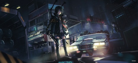 Konachan.com - 211356 2girls black_hair car city jpeg_artifacts long_hair night novelance original thighhighs weapon zettai_ryouiki
