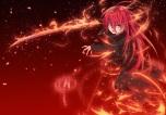 Konachan.com - 211413 blood long_hair magic nakada_daichi red_eyes red_hair shakugan_no_shana shana sword torn_clothes weapon