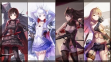Konachan.com - 211548 blake_belladonna red_flowers ruby_rose rwby scythe shorts sword thighhighs weapon weiss_schnee wink yang_xiao_long