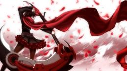 Konachan.com - 211691 brown_hair gray_eyes petals ruby_rose rwby scythe short_hair tagme_(artist) weapon 三枉