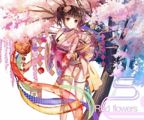 Konachan.com - 222017 blush bow brown_hair cherry_blossoms cropped loli lolita_fashion mumei_(kabaneri) red_flowers ribbons thighhighs tree twintails yukata