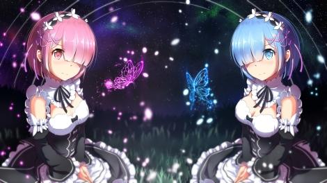 Konachan.com - 222067 2girls apron aqua_eyes aqua_hair arms_ai butterfly grass headdress maid night pink_eyes pink_hair ram_(re-zero) rem_(re-zero) short_hair stars twins