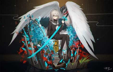 Konachan.com - 222503 animal bird cang_yue_xue_feng feathers glasses jpeg_artifacts pantyhose seifuku shiraha_yuuki signed skirt sword touran-sai weapon wings yellow_eyes