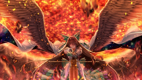 Konachan.com - 223545 armor bow brown_hair cape dress long_hair orange red_eyes reiuji_utsuho touhou weapon wings xuanlin_jingshuang