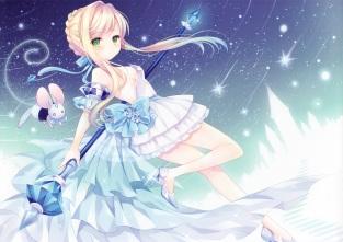 Konachan.com - 199187 blonde_hair bow cinderella cinderella_%28disney%29 dress green_eyes ribbons scan staff wasabi_%28sekai%29