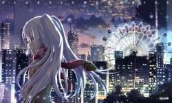 Konachan.com - 199263 isla_%28plastic_memories%29 long_hair night plastic_memories red_eyes scarf tears waisshu_%28sougyokyuu%29 watermark white_hair