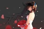 Konachan.com - 199334 ariinine blue_eyes brown_hair dress flowers horns long_hair original petals ponytail ribbons rose