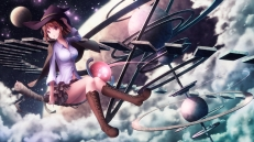 Konachan.com - 199442 boots breasts brown_hair cape clouds hat moon night original shirt short_hair skirt sky stars tanikawa witch witch_hat