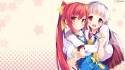Konachan.com - 199588 2girls akatsuki_arisa blush chuablesoft crossover gray_hair headband himekami_ayame long_hair pink red_eyes red_hair ribbons seifuku skirt
