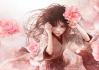 Konachan.com - 199788 brown_eyes brown_hair enta_shiho flowers japanese_clothes kimono long_hair original petals rose
