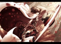 Konachan.com - 211476 dishwasher1910 flowers monochrome red rwby short_hair skirt summer_rose thighhighs watermark weapon yellow_eyes
