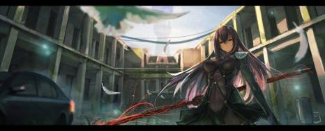 Konachan.com - 211877 armor bodysuit building car fate_grand_order feathers lancer_(fate_grand_order) long_hair purple_hair red_eyes skintight spear weapon xkc