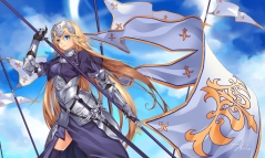 Konachan.com - 212137 blue_eyes clouds fate_apocrypha fate_grand_order long_hair ruler_(fate_apocrypha) signed spear thighhighs weapon