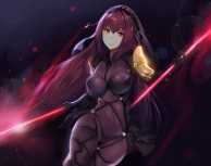 Konachan.com - 212371 armor bodysuit cropped erect_nipples fate_grand_order fate_stay_night headdress hewsack long_hair purple_hair red_eyes skintight spear weapon