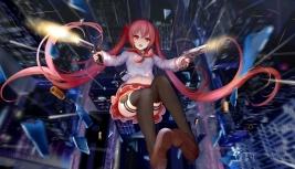 Konachan.com - 212551 aliasing city gun hc hidan_no_aria kanzaki_h_aria long_hair navel red_eyes red_hair seifuku skirt thighhighs twintails weapon