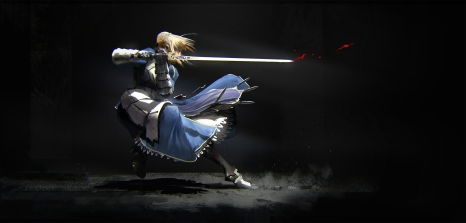 Konachan.com - 212610 armor black blonde_hair blood dress fate_stay_night saber sword weapon zhou_shuo