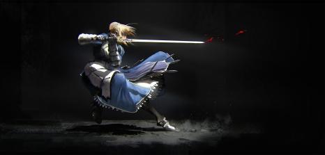 Konachan.com - 212610 armor black blonde_hair blood dress fate_stay_night saber sword weapon zhou_shuo