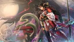 Konachan.com - 21281 demon fox horns katana kikivi long_hair magic original ponytail red_eyes short_hair snake sword tail torii weapon