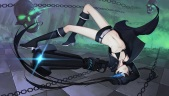 Konachan.com - 212881 black_rock_shooter blue_eyes boots chain daye_bie_qia_lian gloves kneehighs kuroi_mato navel scar shorts skull twintails weapon