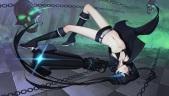 Konachan.com - 212881 black_rock_shooter blue_eyes boots chain daye_bie_qia_lian gloves kneehighs kuroi_mato navel scar shorts skull twintails weapon